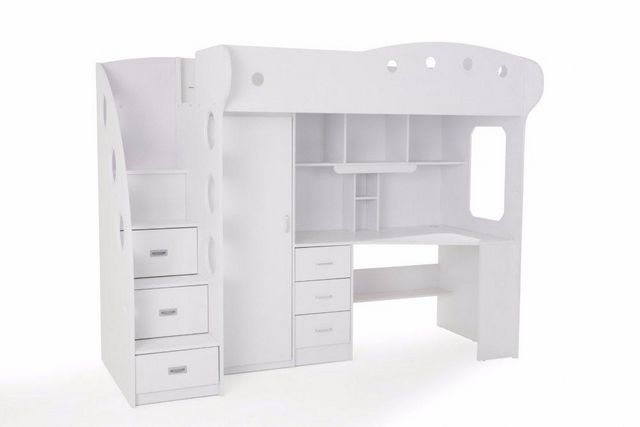 WHITE LABEL - Lit mezzanine-WHITE LABEL-Lit mezzanine COMBI combiné bureau penderie blanch