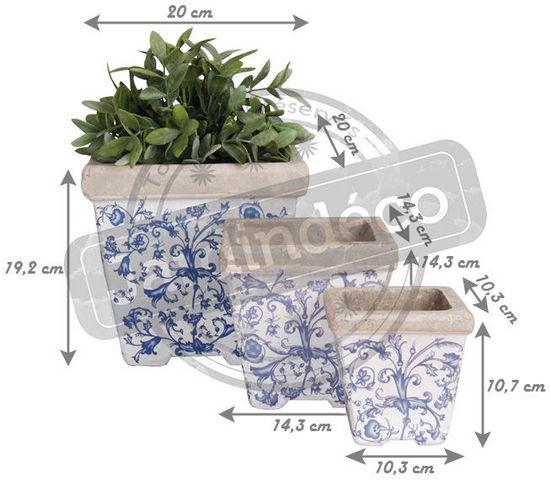 Esschert Design - Cache-pot-Esschert Design-Pots en céramique patiné (Lot de 3)