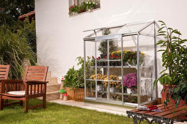 Chalet & Jardin - Mini-serre-Chalet & Jardin-Serre adossée 0,9m² en polycarbonate et aluminium