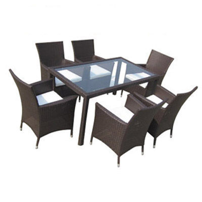 UsiRama.com - Table de jardin-UsiRama.com-FAMI Table et 6 Fauteuils Marron en R�sine Tress�e