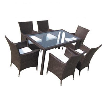 UsiRama.com - Table de jardin-UsiRama.com-FAMI Table et 6 Fauteuils Marron en Résine Tressée