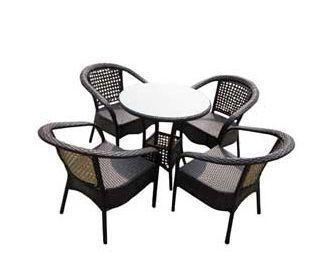 UsiRama.com - Table de jardin-UsiRama.com-PRATIK Table et 4 Fauteils en Résine Tressée