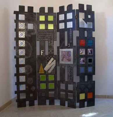 Decoupe Creative - Paravent-Decoupe Creative-Qrose et point noir