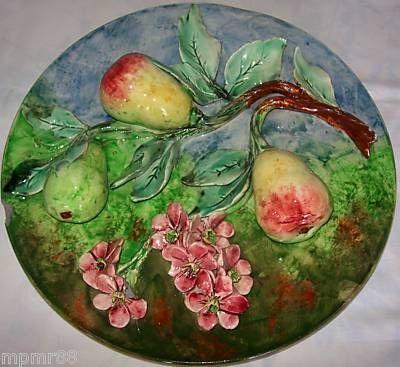 Art & Antiques - Assiette décorative-Art & Antiques-Très grand plat aux poires LONGCHAMP