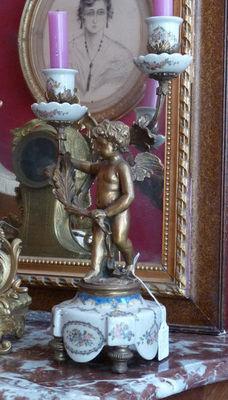 Art & Antiques - Chandelier-Art & Antiques-Candélabres porcelaine et bronze du XIXe