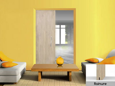 Wimove - Porte coulissante-Wimove-Porte plane, ame alveolaire, cadre sapin, brute, r
