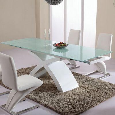 Smart Boutique Design - Table de repas rectangulaire-Smart Boutique Design-Table de Salle à Manger en verre Blanc Matrix