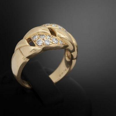 Expertissim - Bague-Expertissim-CARTIER. Bague maillons or et diamants