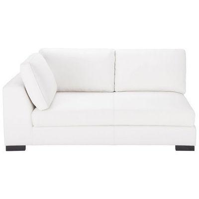 Maisons du monde - Canapé d'angle-Maisons du monde-Canapé manchot cuir gauche convertible blanc Teren
