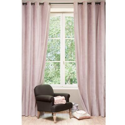 Maisons du monde - Rideaux à oeillets-Maisons du monde-Rideau velours rose perle