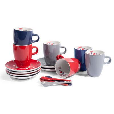 Maisons du monde - Tasse à café-Maisons du monde-Coffret 6 tasses et soucoupes Cerises