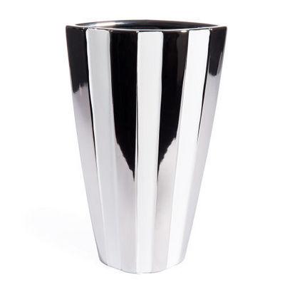 Maisons du monde - Vase à fleurs-Maisons du monde-Vase rayé blanc argent