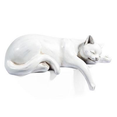 Maisons du monde - Sculpture animalière-Maisons du monde-Chat Dormeur blanc