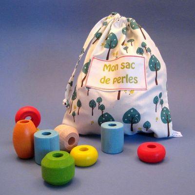 LITTLE BOHEME - Jouet en bois-LITTLE BOHEME-Sac de perles personnalisable sous-bois en coton b