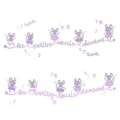 LILI POUCE - Sticker D�cor adh�sif Enfant-LILI POUCE-Kit de stickers frises les souris dansent