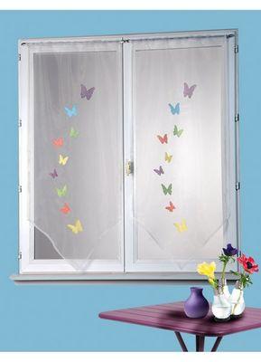 HOMEMAISON.COM - Voilage-HOMEMAISON.COM-Paire de vitrage en organza brodée papillons en vo