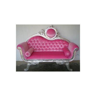 DECO PRIVE - Canap� 2 places-DECO PRIVE-Canape baroque argente et velours rose et capitonn