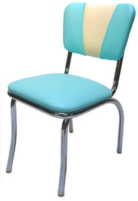 US Connection - Chaise-US Connection-Chaise de Diner Vintage Aqua/Blanc