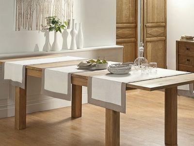 BLANC CERISE - Nappe et serviettes assorties-BLANC CERISE-Vis-�-vis - lin d�perlant - bicolore, brod�