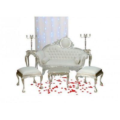 DECO PRIVE - Salon-DECO PRIVE-Canape baroque imitation cuir blanc et deco de mar