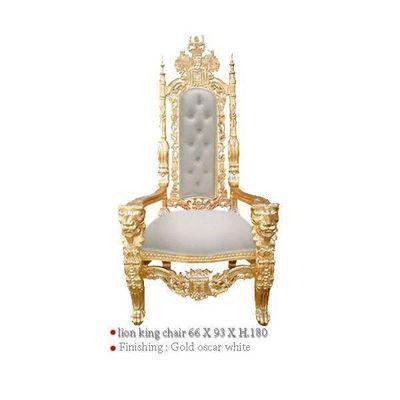 DECO PRIVE - Fauteuil-DECO PRIVE-Fauteuil baroque de luxe modele Lion en bois dore