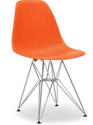 Charles & Ray Eames - Chaise réception-Charles & Ray Eames-Chaise orange DSR Charles Eames Lot de 4