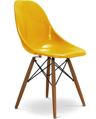 Charles & Ray Eames - Chaise r�ception-Charles & Ray Eames-Chaise jaune design Eiffel SW Charles Eames Lot de