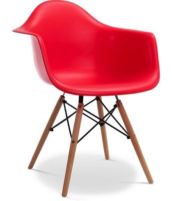 Charles & Ray Eames - Chaise réception-Charles & Ray Eames-Chaise EiffelL AW Rouge Charles Eames Lot de 4