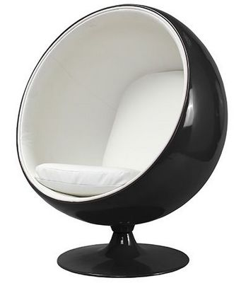 Eero Aarnio - Fauteuil et pouf-Eero Aarnio-Fauteuil Ballon Aarnio coque noire interieur blanc