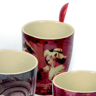 WHITE LABEL - Mug-WHITE LABEL-Mug r�tro gourmand avec cuill�re en Coffret cadeau