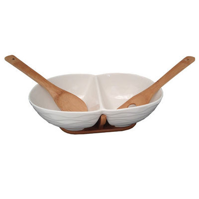 WHITE LABEL - Saladier-WHITE LABEL-Plat 2 espaces en porcelaine sur support en bambou