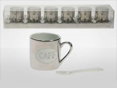 WHITE LABEL - Mug-WHITE LABEL-Service argenté de 6 tasses et 6 cuillères sur pla