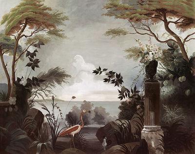 Ananbô - Papier peint panoramique-Ananbô-Le jardin au Flamant Rose