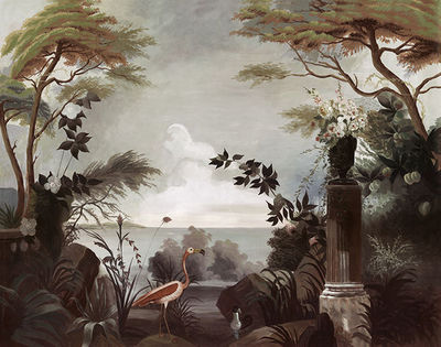 Ananb� - Papier peint panoramique-Ananb�-Le jardin au Flamant Rose