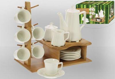 WHITE LABEL - Service à café-WHITE LABEL-Ensemble à café 15 pièces avec élégant support en