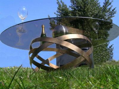 Douelledereve - Table de jardin-Douelledereve-Table basse en métal et verre finition bronze 90x3