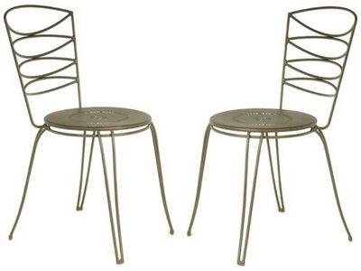 PROLOISIRS - Chaise de jardin-PROLOISIRS-Chaise Amande en Acier cataphorèse Rouille (Lot de