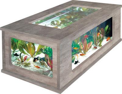 ZOLUX - Table basse aquarium-ZOLUX-Table basse aquarium imitation béton ciré 100x63x5