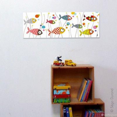 SERIE GOLO - Tableau décoratif enfant-SERIE GOLO-Toile imprimée mille bulles 60x20cm