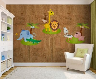 PEARL CORK - Papier peint enfant-PEARL CORK-HAPPY FRIENDS