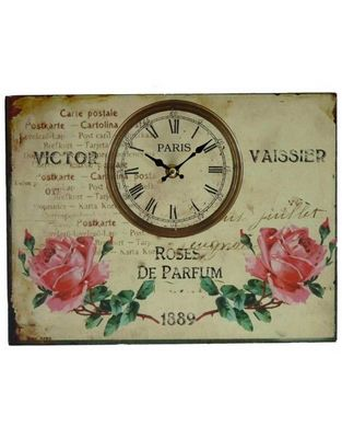 L'HERITIER DU TEMPS - Horloge murale-L'HERITIER DU TEMPS-Horloge Tableau Roses 25x33cm