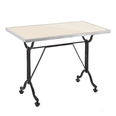 Ardamez - Table de repas rectangulaire-Ardamez-Table de repas émaillée ivoire / inox / fonte