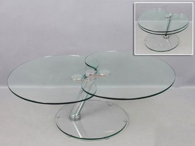 WHITE LABEL - Table basse forme originale-WHITE LABEL-Table basse CLOVER en verre.