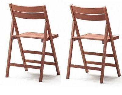 WHITE LABEL - Chaise pliante-WHITE LABEL-Lot de 2 chaises pliantes ROBERT noyer