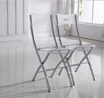WHITE LABEL - Chaise pliante-WHITE LABEL-Lot de 2 chaises WIDOW design en plexiglas transpa