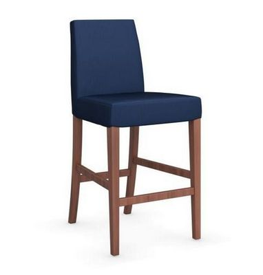 Calligaris - Chaise haute de bar-Calligaris-Chaise de bar LATINA de CALLIGARIS bleue et noyer