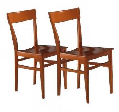 WHITE LABEL - Chaise-WHITE LABEL-Lot de 2 chaises NAVIGLI en h�tre laque orange bri
