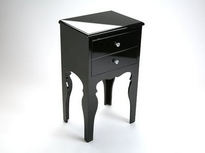 WHITE LABEL - Table de chevet-WHITE LABEL-LILI commode bois 2 tiroirs laque noire brillante