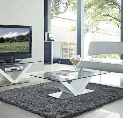 WHITE LABEL - Table basse rectangulaire-WHITE LABEL-Table basse design KENNY en verre et piétement en