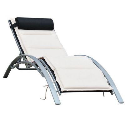 WHITE LABEL - Bain de soleil-WHITE LABEL-Transat chaise longue avec matelas
